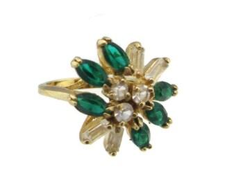 Vintage 14k HGE Gold Navette Emerald Austrian Crystal Cocktail Ring Size 5