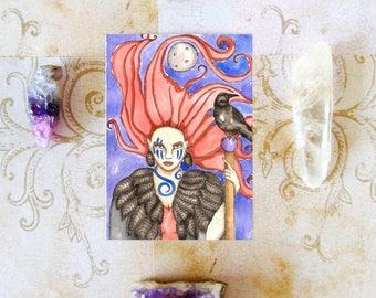 Fantasy Art The Morrigan Prayer Card Altar Art Celtic Goddess Print Pagan Art Dark Goddess Spiritual Art Witch Art Ritual Mythological Art