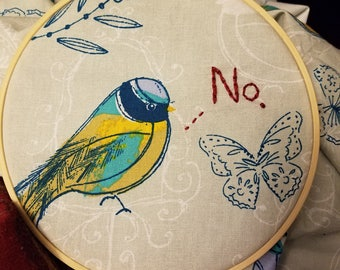 No. angry bird completed embroidery, framed in 7 inch hoop