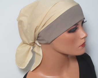 Head scarf Hat/TURBAN beige ideal cancer, wig for cancer, chemotherapy, alopecia, hair loss, convertible CAP,