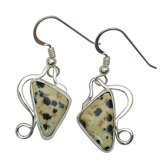 Dalmatian Jasper Earrings Set in Sterling Silver  edald3040