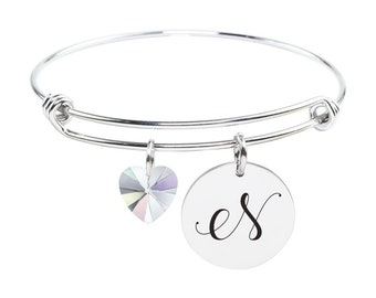 Initial Bangle made with Crystals from Swarovski - N - SWABANGLE-GLD-AB-N - Silver