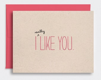 Funny Valentines Day Card, I Like You Card - Valentine Card, Cute Anniversary Card, Brown Recycled Card, Pink - For Him, Her