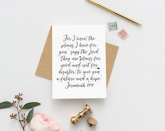 Jeremiah 29:11 | For I know The Plans | Plans To Prosper You | Christian Card | Christian Calligraphy | Christian Encouragement