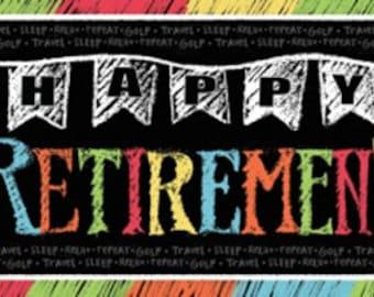 Retirement Chalk Giant Party Banner, happy retirement