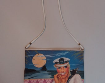 80s PERFECTION! Nautical Nagel Style Painting Purse