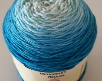 Ozimerino.  Hand-dyed teal gradient fingering weight yarn.  100gm. Teal