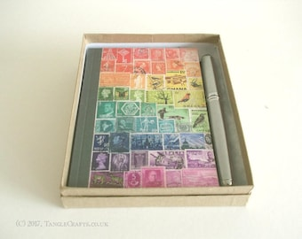 Rainbow Address Book + Pen Gift Set | Boxed Birthday & A-Z Book, Gift Bag | Colourful Eclectic Postage Stamp Print Penpal Letter Writer Gift