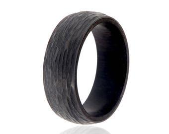 Mens Wedding Band African Blackwood Ring Black ZirconiumTree Bark Outside - USA Made Custom Jewelry And Bands