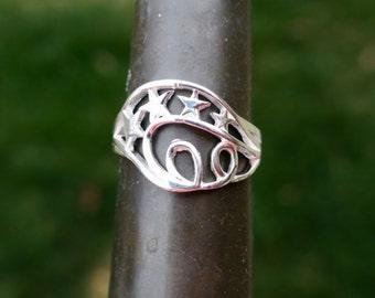 SALE Vintage 925 Sterling Silver Star Ring