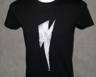 David Bowie-inspired Tshirt, Lightning Bolt, black or white with color choice, 100% Cotton