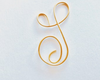 letter S, Gold gold tone wire , Initial jewelry, Lilyb444