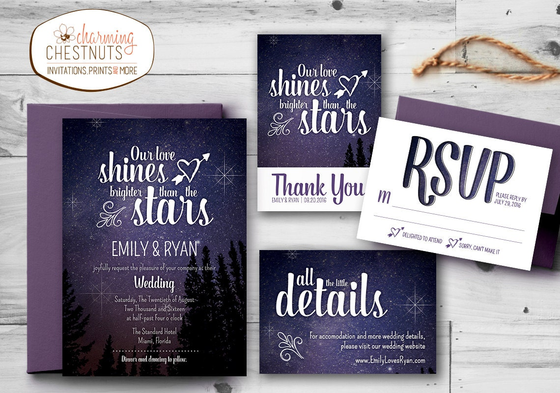 Starry Night Wedding Invitation Set Printable wedding
