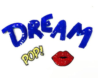 dream n kiss sequins patch applique fashion patch