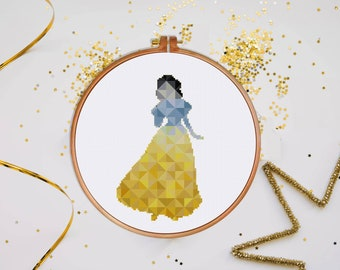 Snow White cross stitch pattern, Geometric Disney princess modern nursery fairy counted cross stitch, instant download easy baby room decor