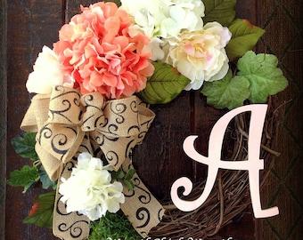 Hydrangea wreath, Summer wreath, Front door wreath, outdoor wreath, Mother's day wreath, Country wreath, Coral wreath, peony door wreath