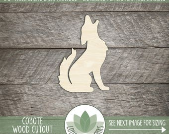 Coyote Wood Shape Cutout, Unfinished Wood Coyote Laser Cut Shape, DIY Craft Supply, Many Size Options, DIY Nursery Wall Art