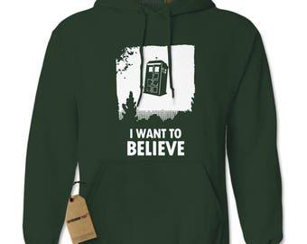 I Want To Believe Dr. Who Flying Tardis Adult Hoodie Sweatshirt