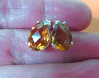 Citrine Earrings - Golden Citrine Post Earrings - Pear-Shaped Citrine & Sterling Silver Post Earrings