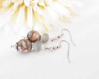 Gray Earrings Beaded Dangle Earrings Sterling Silver Earrings Handmade, Best Selling Items, Boho Earrings Silver Jewelry, Clip On Earrings