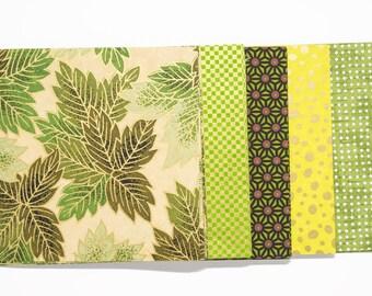"""Papeles de origami japonés """"Verde"""""""