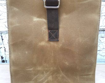 Waxed Canvas Lunch Sack Bag / New Leather / Leather Buckle / No Pocket / Hand Made