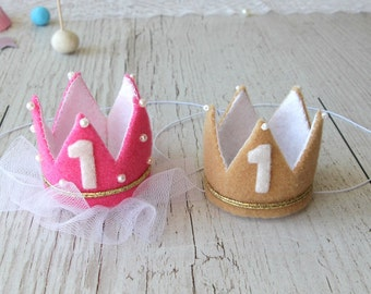 Twin First Birthday Crowns   Twin Girl And Boy Crowns   Twin Birthday Headbands   Baby Girl And Baby Boy First Birthday Photo Props