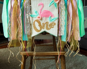 FLAMINGO Birthday Highchair Gold High Chair Banner Pink Gold First One Birthday FLAMINGO Party Cake Smash Photo Backdrop GOLD Flamingo