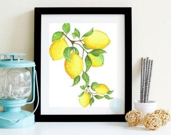 KITCHEN ART Fruit Art Lemon Wall Print Lemon PrintablebCitrus Kitchen Print Citrus Print  Lemon PrintModern Farmhouse Art Kitchen Poster