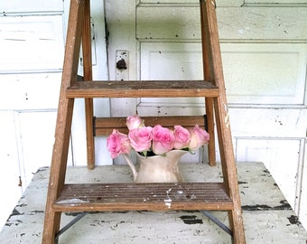 Vintage Rustic Farmhouse Ladder Spattered Paint