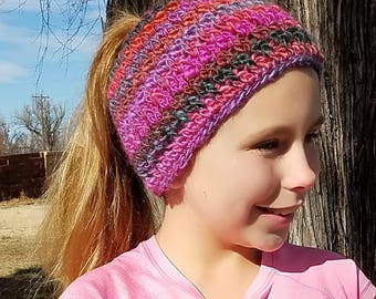 Shades of Purple Messy Bun Beanie, Ponytail Hat, Updo Hat, Gift for Wife, Gift for Tween, Winterwear