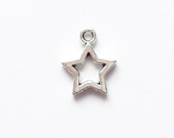 Silver or golden open star charm 15x12mm (2 pieces)