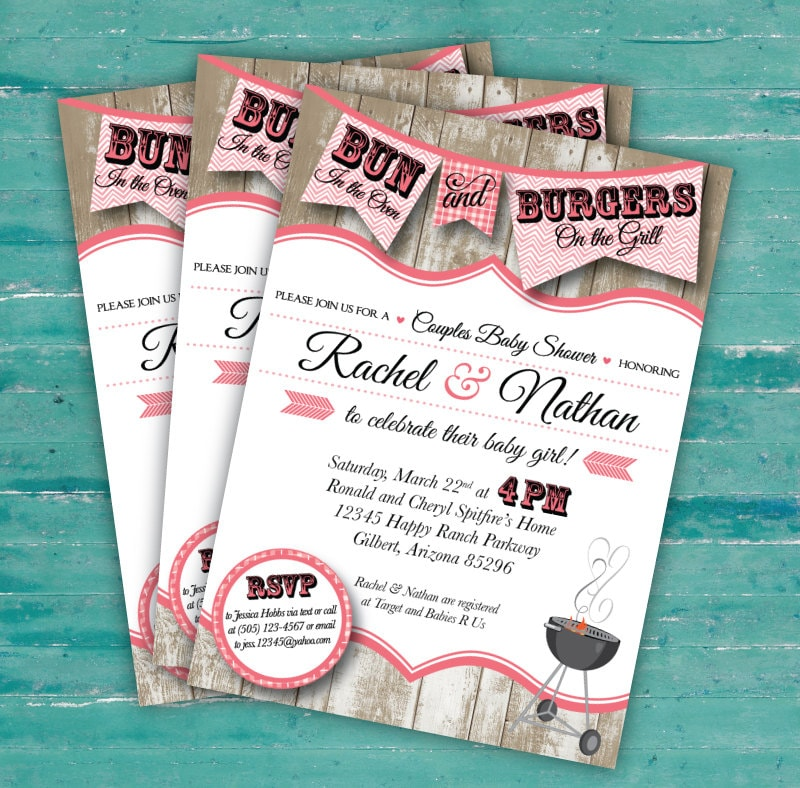 couples bun in the oven baby shower bbq invitation digital