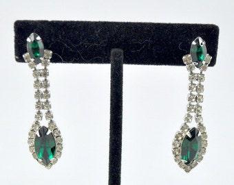 Green rhinestone posts, special occasion earrings, statement earrings, bridal earrings