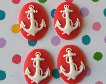4 18x25mm Red Anchor Resin Cameos Set of 4 - Embellishment Decoden Nautical Sailor