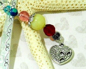 HEART GEMSTONE BOOKMARK, Tibetan Silver, Beaded Charm, Metal Hook Bookmark