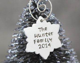 Personalized Ornament, Christmas Ornament, Snowflake Ornament, Holiday Ornament, Hand Stamped Ornament, Holiday Decor, Custom Ornament