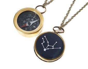 Virgo Constellation Necklace, Zodiac Jewelry, Small Working Compass, Brass Chain, August Birthday, September Birthday, Holiday Gift