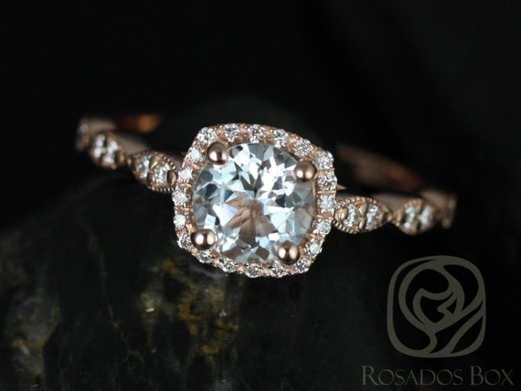 Rosados Box Christie 6mm 14kt Rose Gold Aquamarine and Diamonds Cushion Halo WITH Milgrain Engagement Ring