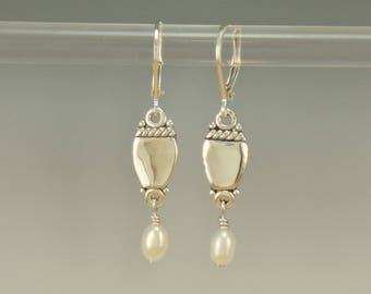ER617- Sterling Silver Earrings with Fresh Water Pearl Dangles- One of a Kind