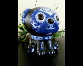 Hand painted ceramic dia de los muertos /day of the dead  puppy dog