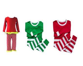 In Stock! Children's Green and Red Stripe  & Polka Dot Christmas Pajama Set