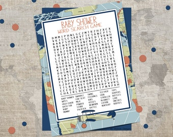 Adventure awaits word search game, Baby shower games, Word search game, Airplane, Printable word search , shower games, Baby shower games