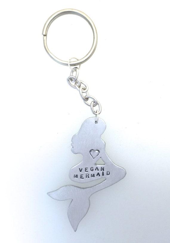 Vegan Mermaid Keychain-Vegan Keychain-Vegan Jewelry-Mermaid Keychain- Ariel inspired-Little Mermaid-Mythical-Vegan Gift-Birthday