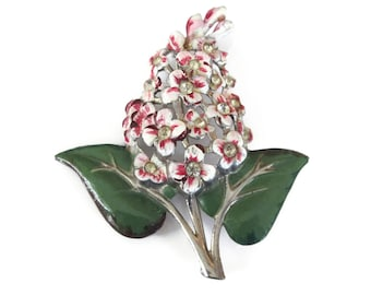 Pot Metal Enamel Lilac Flower Brooch - Spring Flowers, Enamel Brooch, Rhinestone Brooch, Art Deco Brooch, Vintage Brooch