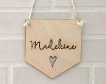 Banner - Heart - Wood Wall Art - Home Decor - Personalized Decorative Accessories - Scandinavian Style - Nursery