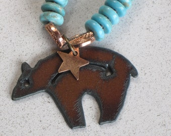 """NEW - Beautiful Rusted Metal Bear Heart Pendant Necklace, Star, Buddha, Turquoise, Coral, Copper, 20-1/8"""" Long"""
