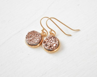 Druzy Bridesmaid Earrings, Gold Bridesmaid Jewelry, Rose Gold Druzy Earrings