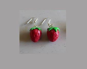 Strawberry earrings, silver plated hooks
