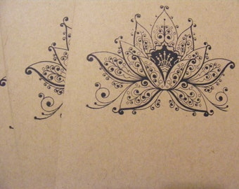 All Occasion Kraft Handmade Lotus Greeting Cards Stamped w Envelopes Set of 5 Vintage Style Great Gift Quick Shipping